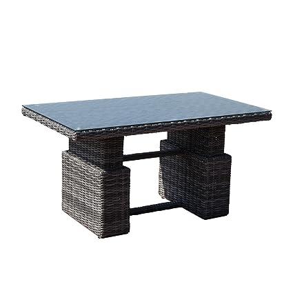 greemotion Rattan-Esstisch Bari in Grau mit Glasplatte - Gartentisch höhenverstellbar - Lounge-Tisch fur 4 Personen - Gartenmöbel aus Polyrattan fur Terrasse, Balkon & Garten
