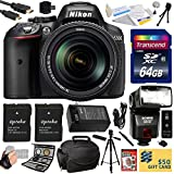 Nikon D5300 24.2 MP CMOS Digital SLR Camera with 18-140mm f 3.5-5.6G ED VR AF-S DX NIKKOR Zoom Lens (Black) (13303) with Professional Accessory Bundle Kit includes 64GB SD Memory Card + SD Card Reader + 60