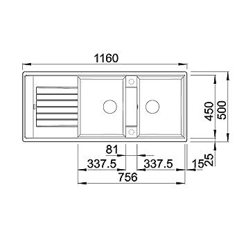 blanco zia 8 s silgranit puradur ii sp le becken reversibel f r 80 cm unterschrank anthrazit. Black Bedroom Furniture Sets. Home Design Ideas