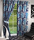 Divine Floral Polyester Curtains (Set of 4), (Blue, 5 Feet x 4 Feet)
