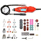 Rotary Tool Kit with Flex Shaft, Variable Speed Electric Engraver Tools with Storage Case Including 200 PCS Multi-functional Accessory Tool Bits for Easy Cutting, Grinding, Sanding, Sharpening, Carvin (Color: Red)