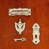 Odoria 1:12 4個 ゴールデン金属製のドアノッカーロックドアプレート設定ドールハウスのハードウェアのミニチュア [並行輸入品]