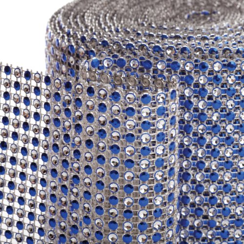 Koyal 2-Tone Diamond Rhinestone Ribbon Wrap, Royal Blue