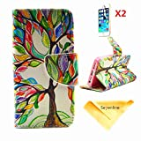 Se7enline for iPhone 5 5S/5G [3 in 1 Bundle] Case+ 2 piece HD Clear Screen Protectors+Soft Clean Cloth,Painted Fashion Style Wallet Card Case Magnetic Design Flip Folio PU Leather Standup Cover Case for iPhone 5/5S/5G ,with Colorful Tree and Leaf Pattern,Lucky Tree