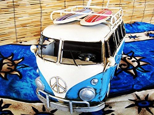 ChariotCCM アンティーク調 ブリキのおもちゃ ワーゲン ミニバン カラーサーフボード BLUE