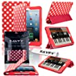SAVFY iPad mini / iPad mini 2 with Retina display Red with White Stylish Polka Dots PREMIUM PU Leather Case Cover Multi-Function Tri-Fold Stand Pouch with Auto Wake and Sleep Sensor, Free Bonus Gift: Screen Protector + Touchscreen Stylus Pen (Multiple Colours available) (Polka Dots, Red)