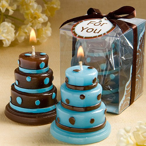 Luscious Blue and Brown Wedding Cake Candle Favors