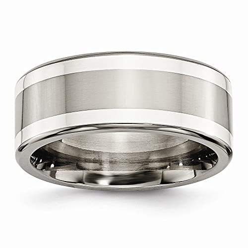 Men's Titanium with Argentium Silver Inlay Polished Flat Wedding Band Ring