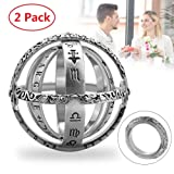 Astronomical Sphere Ball Ring,Cosmic Finger Ring Couple Lover Foldable Ring That Folds Out to an Astronomical Sphere Ring Lover Jewelry Gifts (Silver 2 Pack, 6) (Color: Silver 2 Pack, Tamaño: 6)