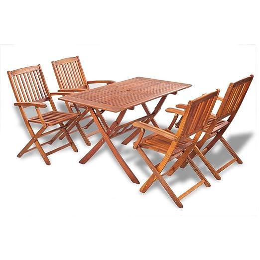 vidaXL Holz Gartenmöbel-Set Essgruppe 4 Stuhle + 1 Rechteckiger Tisch