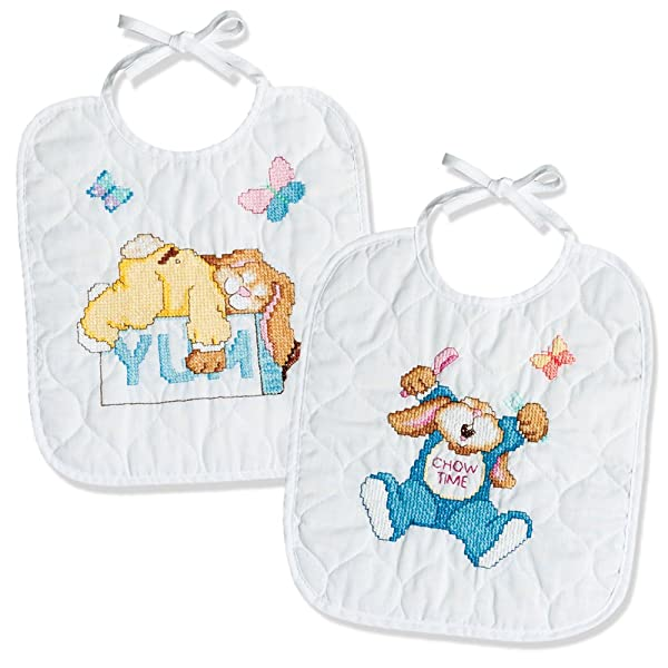 Janlynn Sleepy Bunnies Bibs Stamped Cross Stitch Kit-9-1/2 X11 Set of 2