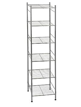 edles metall regal mit 6 ablagen 141 x 34 x 34 cm badregal metallregal f r bad. Black Bedroom Furniture Sets. Home Design Ideas