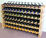 Wine Rack Wood -72 Bottles Modular Hardwood Wine Racks (12 bottles x 6 shelves)