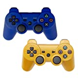 YOUCable PS3 Controller Wireless Playstation 3 Remote Dualshock Bluetooth Gamepad (Blue+Gold)