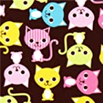 Tissu marron kawaii chats multicolore...