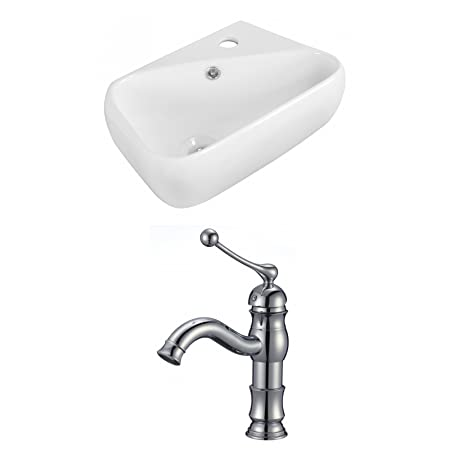 "Jade Bath JB-15315 18"" W x 10.5"" D Rectangle Vessel Set with Single Hole CUPC Faucet, White"