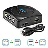 RCA to HDMI Converter, 1080P Mini RCA Composite CVBS AV to HDMI Video Audio Adapter with USB Charge Cable Supporting PAL/NTSC for PC TV STB Xbox Wii PS4 PS3 VHS VCR Camera Nintendo N64 (Black) (Color: Black, Tamaño: RCA to HDMI Converter Mini)