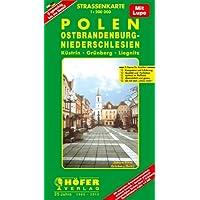 Höfer Straßenkarten, Polen, Ostbrandenburg, Niederschlesien: Küstrin - Grünberg - Liegnitz. 2-sprachig. Mit separatem...