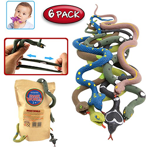 rubber-snake14-inch-snake-toy-set6-packfood-grade-material-tpr-super-stretchywith-learning-cardzoo-w