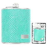 Green Lizard Leather Hip Flask in Gift Box w/ Funnel