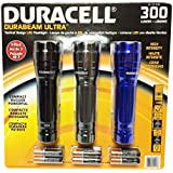 Duracell Durabeam Ultra 300 Lumens Tactical High-Intensity Compact LED Flashlight, 3-Pack