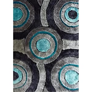 Purple and turquoise area rug