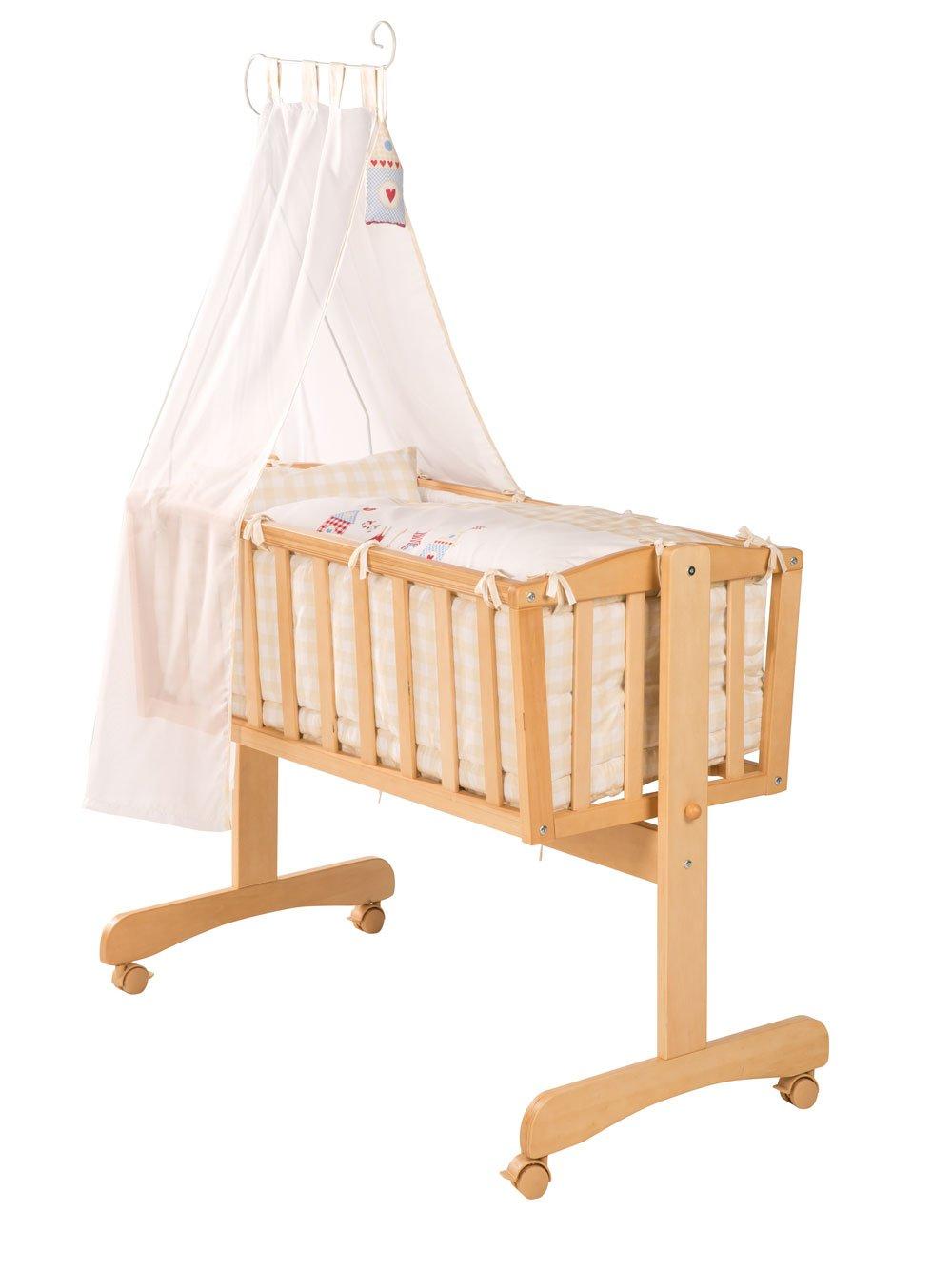 Komplettwiege in Holz natur mit Feststell-Funktion, Bremsrollen und kompletter textiler Ausstattung, Liegefläche: ca. 90 x 40 cm bestellen