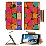 Motorola Google Nexus 6 Flip Pu Leather Wallet Case Colorful multicolored geometric abstract digital photo collage technique pattern IMAGE 36334377 by MSD Customized Premium