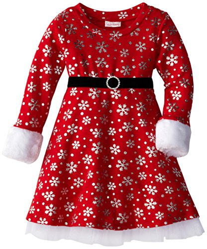 Youngland Little Girls' Metallic Snowflake Dress, Red/Silver, 4T