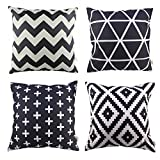 HOSL P61 4pcs Cotton Linen Sofa Home Decor Design Throw Pillow Case Cushion Covers Square 18 Inch (1x plus, 1x Geometry, 1x triangle, 1x Black Zig Zag Chevron)