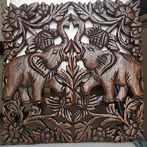 Chiang Mai Thailand Elephant Carved Teak Wood Wall Hang Sculpture Dark Brown Art Crafts