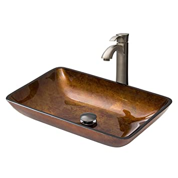 VIGO Rectangular Russet Glass Vessel Bathroom Sink and Otis Vessel Faucet with Pop Up, Brushed Nickel