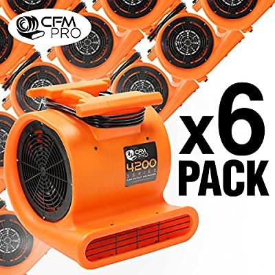 CFM PRO 4,200 Series Air Mover & Carpet Dryer Blower Fan - Package of 6
