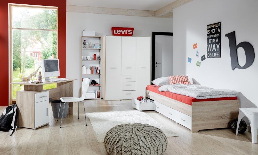 4-tlg. Jugendzimmer in Eiche Sonoma Sägerau Nachbildung und Weiß mit Griffen in mattem Silber, 3-trg. Kleiderschrank, Bett,Schreibtisch und Standregal