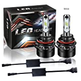 SABER X 50W 8000LM 9004 HB1 LED Headlight Bulb All-in-One Conversion Kit Anti Flicker Canbus Decoder 6500K Led Fog Lights Bulbs Replaces Halogen & HID Bulbs For Nissan Ford Chevy Dodge Ram Oldsmobile