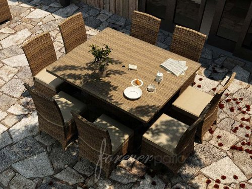 Cypress 9 Piece Dining Set Fabric: Flagship Ruby / Canvas Bay Brown Welt image