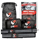 SUPER SALE! Gym Bitz Wrist Wraps + Lifting Straps Premium Quality Complete Bundle 3 COLOR Choices (Free Storage Bag)