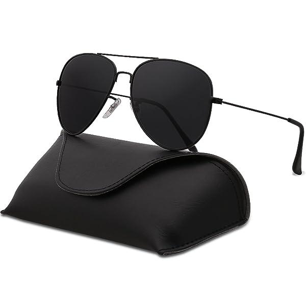 b3eece0c54 SojoS Classic Aviator Polarized Sunglasses Mirrored UV400 Lens SJ1054 (C1  Black Frame Grey Lens With Case