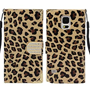 Amcctvshop Popular Fashion Leopard Wallet Leather Hard Case Cover for Samsung Galaxy S5 I9600 (Gold)