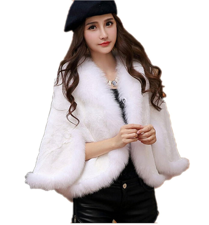 YRLOVE Mode Damen Echter Rex kanichen Pelz Stahl Kap Poncho Mantel & Fuchs Pelz Halsband bestellen