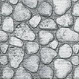 d-c-fix Badvorleger Bodenbelag Breite 65 cm Länge wählbar – Steine Grau – ECKIG 65 x 1000 bzw. 1000×65 cm für Küche , Bad , Garten …