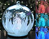 LED Glass Globe Christmas Tree Ornament with Angel Holding Heart Inside - Color Changing Lights - Clear Glass with Hand Painted Glitter Snowflakes 5 Inch Diameter