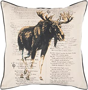 "Surya HH-119 Hand Crafted 100% Polyester Khaki 18"" x 18"" Graphic Novelty Decorative Pillow"
