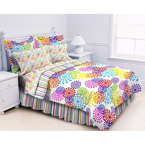 Queen Polka Dots Stripes Multi Prism Comforter Sheets Bed-In-A-Bag Girls Kids Teens