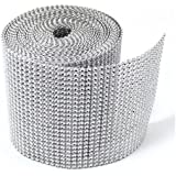 Silver Diamond Rhinestone Ribbon Wrap BULK 30 feet - Wedding Decorations, Party Supplies