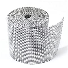 Silver Diamond Rhinestone Ribbon Wrap BULK 30 feet - Wedding Decorations, Party Supplies
