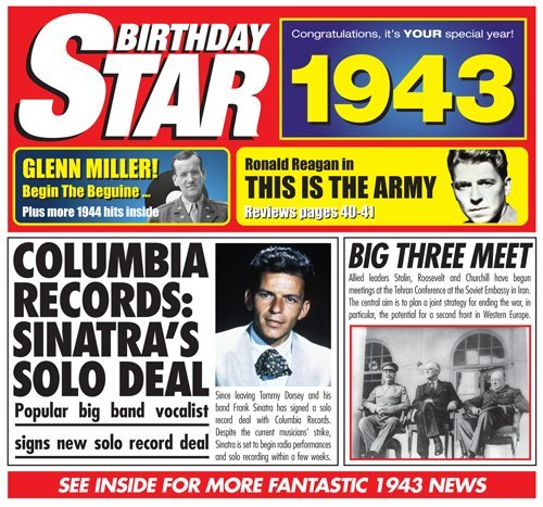 70th Birthday Gift - 1943 Chart Hits CD and 1943