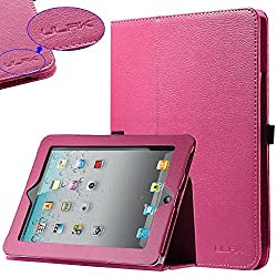 Pandamimi ULAK(TM) Hot Pink PU Folio Leather Case Cover with Built-in Stand for Apple iPad 1 1st Generation +...