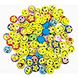 BeautyMood Mini Metal Smiley Smile Face Button Pins,1.2 Inch Size - 60 Pack
