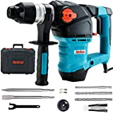 ENEACRO 1-1/4 Inch SDS-Plus 12.5 Amp Heavy Duty Rotary Hammer Drill, Safety Clutch 3 Functions with Vibration Control Including Grease, Chisels and Drill Bits with Case (Color: Blue)